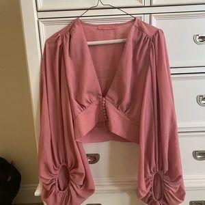 Light pink button up bell sleeve crop top